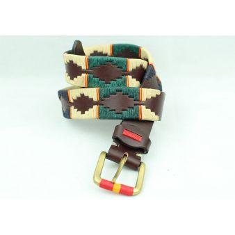 Cinturón bordado combinado marrón