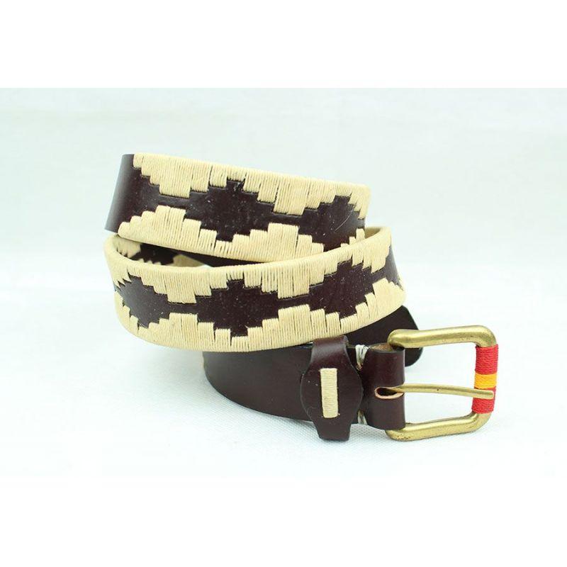 Cinturón bordado marrón y beige