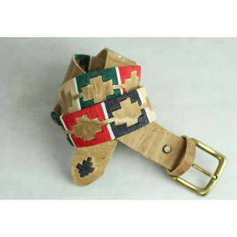 Cinturón bordado azul, verde, rojo y beige