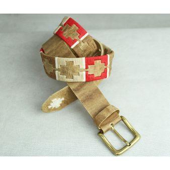 Cinturón bordado rojo tostado y beige