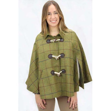Capa lana cuadros espiga verde
