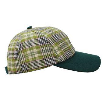Gorra beisbol cuadros visera verde