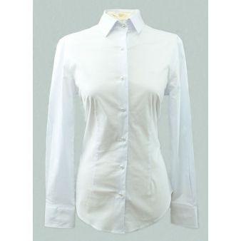 Camisa de señora blanca botón perla