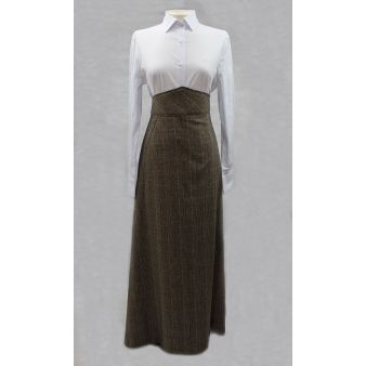 Falda de amazona príncipe de gales marrón