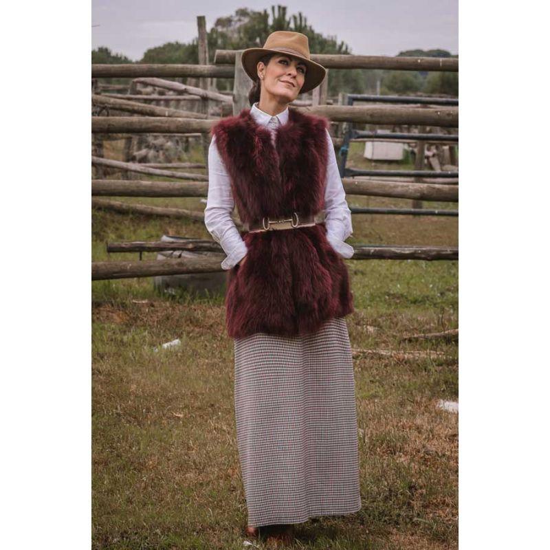 Falda de amazona Vichy Burdeos