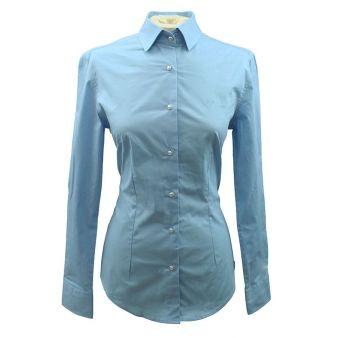 Camisa de señora celeste botón perla
