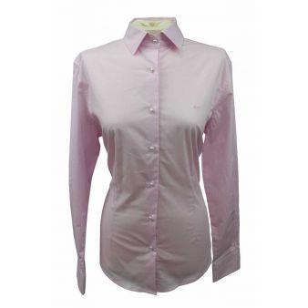 Camisa de señora rosa botón perla