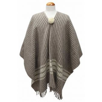 Striped taupe poncho