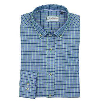 Blue shirt with green checks