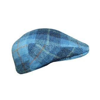 Jockey cap with blue checks.
