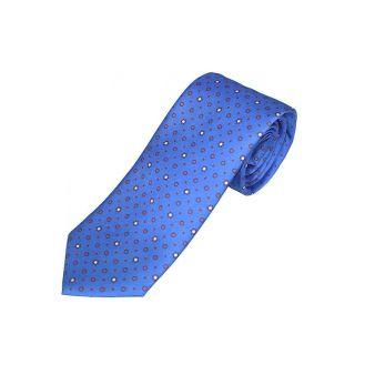 Corbata seda azul círculo rojo