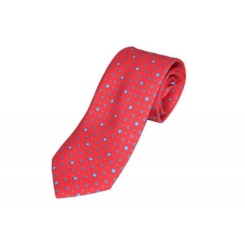 Corbata seda roja círculo azul