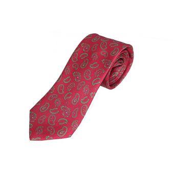 Corbata seda roja cachemir verde