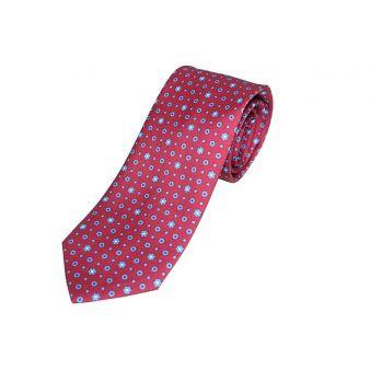 Corbata seda burdeos círculo azul