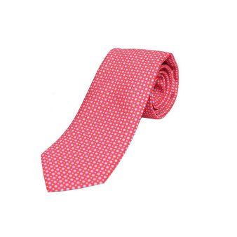 Corbata seda roja puntos celestes