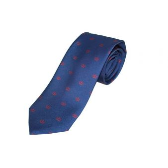 Navy silk tie with red crown