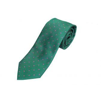Corbata seda verde lunares rosa