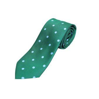 Corbata seda verde lunares celeste