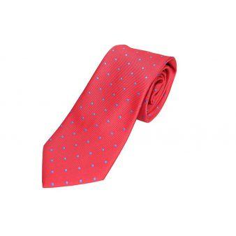 Corbata seda roja lunares azulina