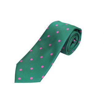 Corbata seda verde lunares grandes fuxia