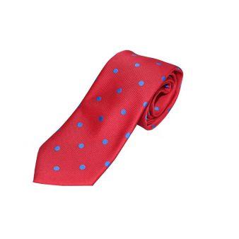 Corbata seda roja lunares azul