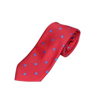 Red silk tie with blue...