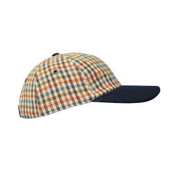 Brown checked baseball cap