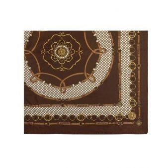 Pañuelo marrón con adornos de cadenas