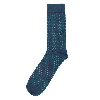 Calcetín azul punto verde