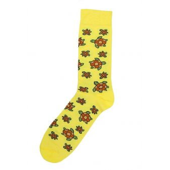 Calcetín amarillo tortugas
