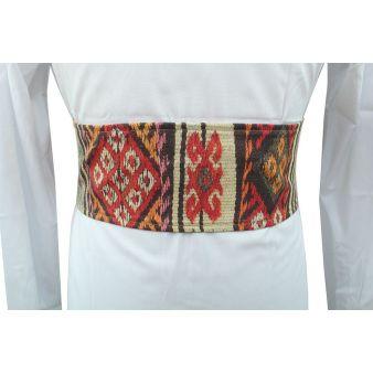 Coral ethnic sash