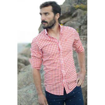Camisa Pescatore cuadros naranja