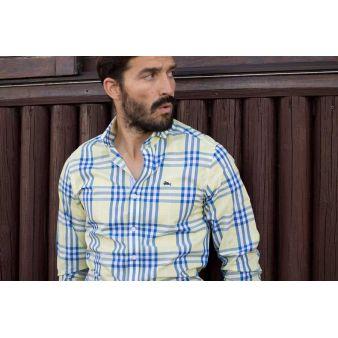 Camisa Pescatore amarilla líneas azules