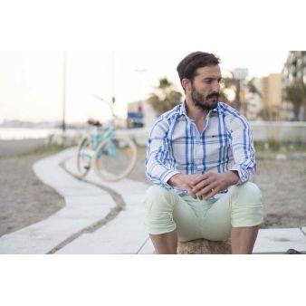 Camisa Pescatore rosa líneas azules