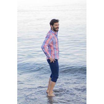 Camisa Pescatore salmón líneas azules
