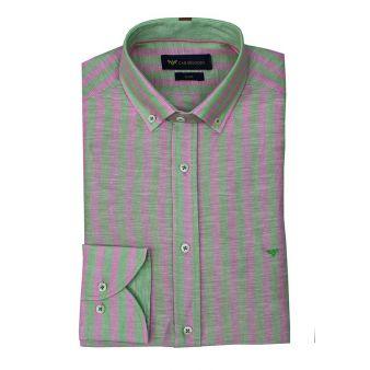 Camisa rayas verde/rosa
