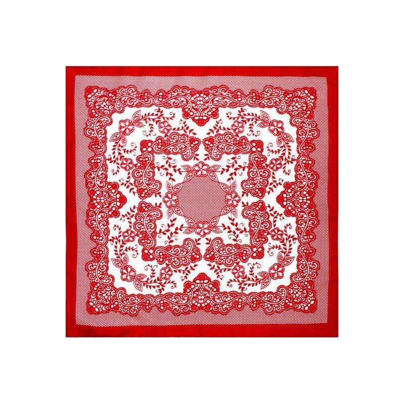 Pañuelo infantil rojo con flores
