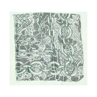 Pañuelo adornos cadenas grises