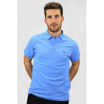 Mid-blue short sleeve polo...