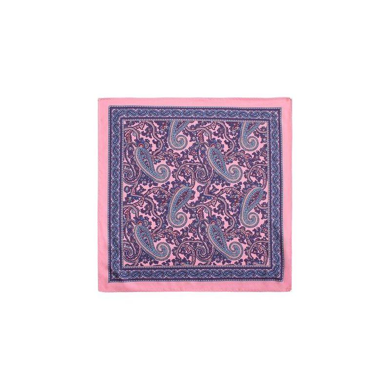 Pañuelo infantil rosa adorno cachemir azul