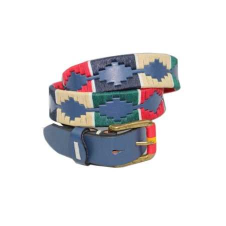 Cinturón azul bordado rojo-verde-beig