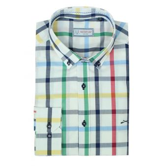 Checked shirt with white...