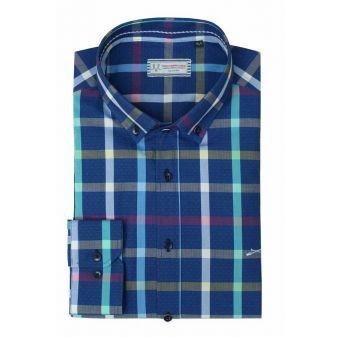 Camisa cuadros fondo azul