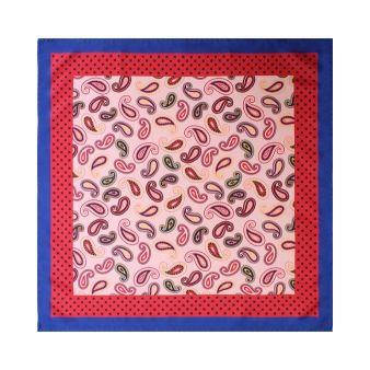 Pañuelo rosa cachemir con borde lunares