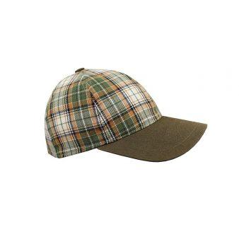 Green checked baseball cap