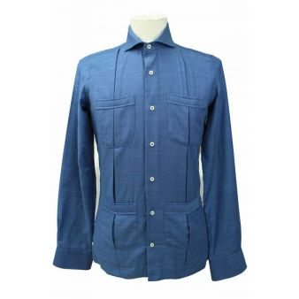 Navy cotton Cuban shirt