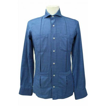 Camisa cubana algodón marino