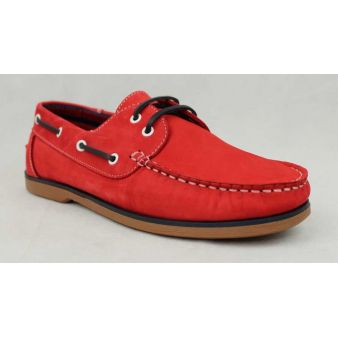 Red laced deck shoe