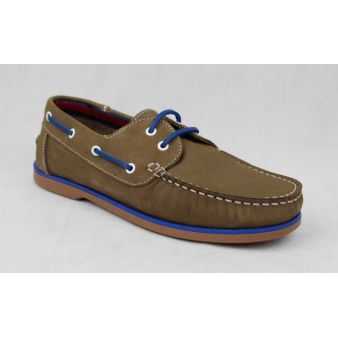 Taupe laced deck shoe