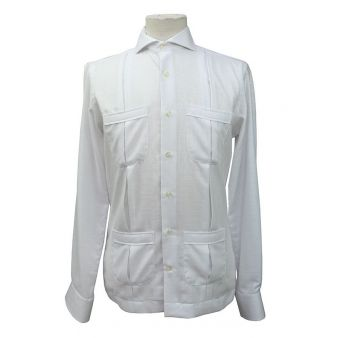 Camisa cubana algodón blanca